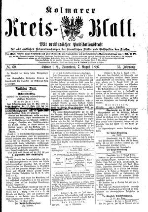 Kolmarer Kreisblatt vom 07.08.1886