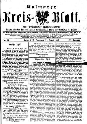 Kolmarer Kreisblatt vom 21.08.1886