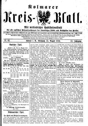 Kolmarer Kreisblatt vom 25.08.1886
