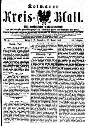 Kolmarer Kreisblatt vom 28.08.1886
