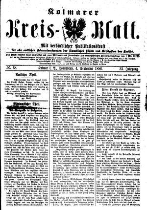 Kolmarer Kreisblatt vom 04.09.1886