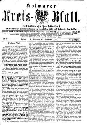 Kolmarer Kreisblatt vom 15.09.1886