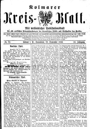 Kolmarer Kreisblatt vom 18.09.1886