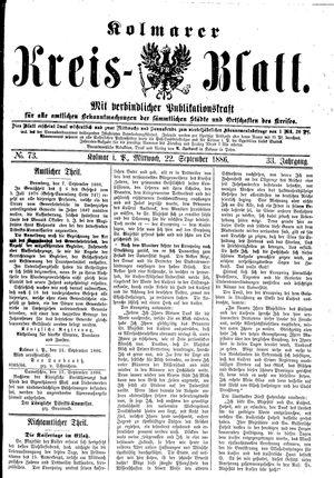 Kolmarer Kreisblatt vom 22.09.1886