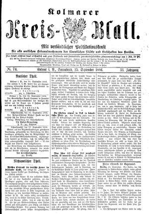 Kolmarer Kreisblatt vom 25.09.1886