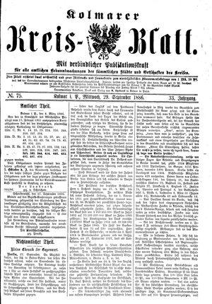 Kolmarer Kreisblatt vom 29.09.1886