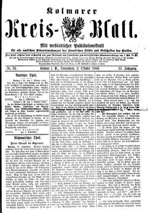 Kolmarer Kreisblatt vom 02.10.1886