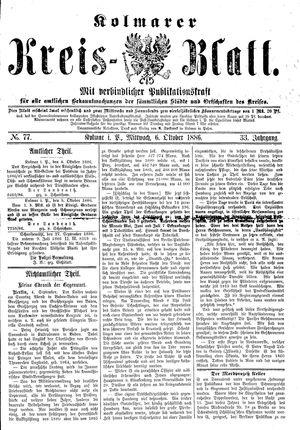 Kolmarer Kreisblatt vom 06.10.1886