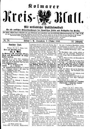 Kolmarer Kreisblatt vom 09.10.1886