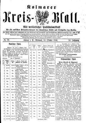 Kolmarer Kreisblatt vom 13.10.1886