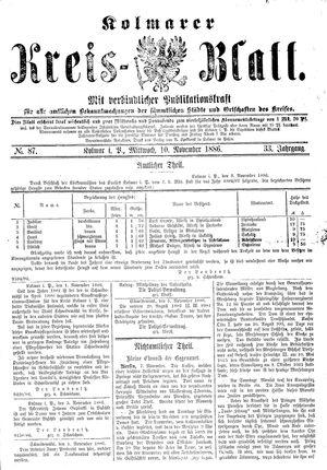 Kolmarer Kreisblatt vom 10.11.1886