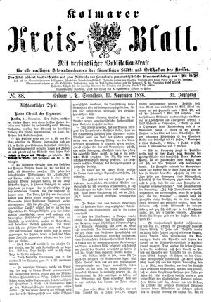 Kolmarer Kreisblatt vom 13.11.1886