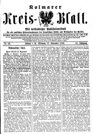 Kolmarer Kreisblatt vom 17.11.1886