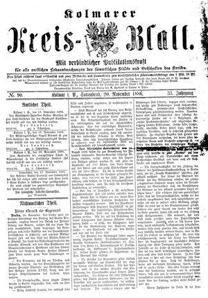 Kolmarer Kreisblatt vom 20.11.1886