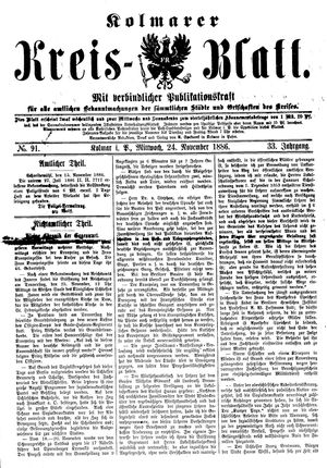 Kolmarer Kreisblatt vom 24.11.1886