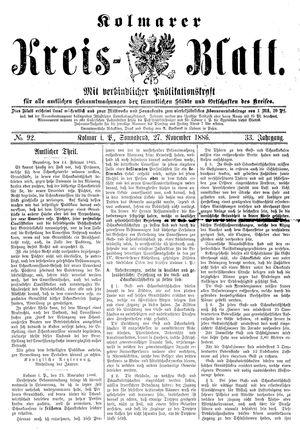 Kolmarer Kreisblatt vom 27.11.1886