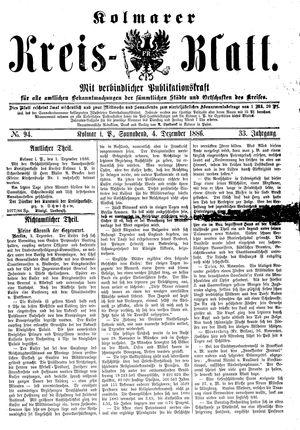 Kolmarer Kreisblatt vom 04.12.1886