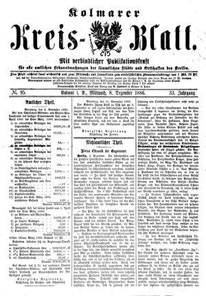 Kolmarer Kreisblatt vom 08.12.1886