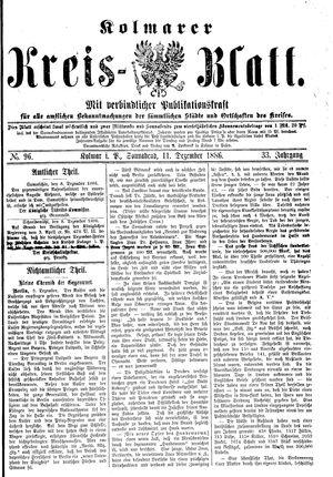 Kolmarer Kreisblatt vom 11.12.1886