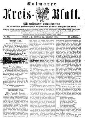 Kolmarer Kreisblatt vom 22.12.1886