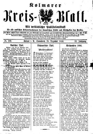 Kolmarer Kreisblatt vom 25.12.1886