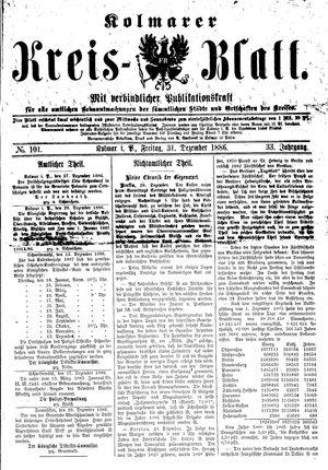 Kolmarer Kreisblatt vom 31.12.1886