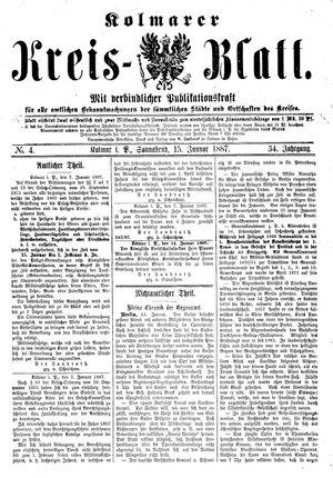 Kolmarer Kreisblatt vom 15.01.1887