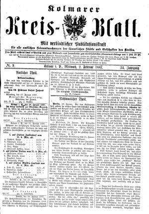 Kolmarer Kreisblatt on Feb 2, 1887