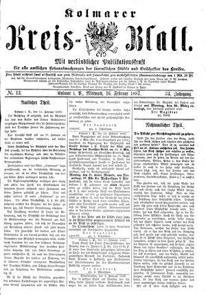 Kolmarer Kreisblatt on Feb 16, 1887
