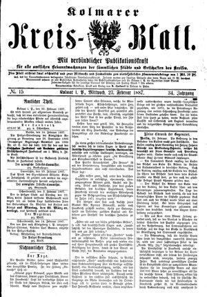 Kolmarer Kreisblatt vom 23.02.1887