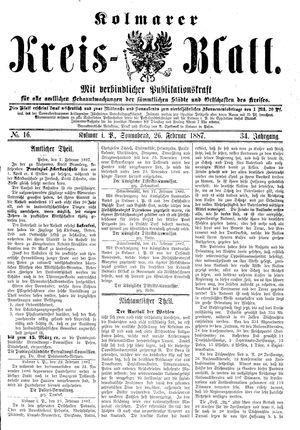 Kolmarer Kreisblatt vom 26.02.1887