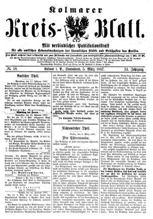 Kolmarer Kreisblatt vom 05.03.1887