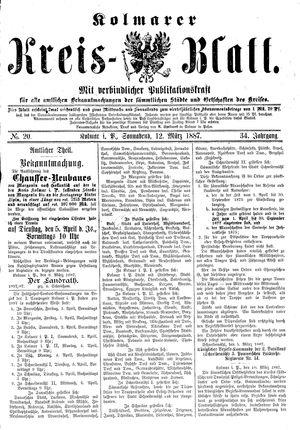 Kolmarer Kreisblatt vom 12.03.1887