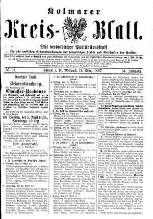 Kolmarer Kreisblatt vom 16.03.1887