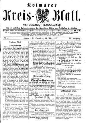 Kolmarer Kreisblatt vom 19.03.1887