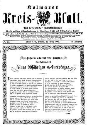 Kolmarer Kreisblatt vom 22.03.1887