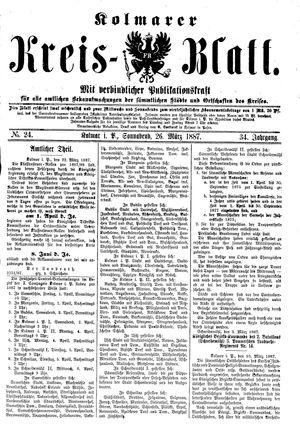 Kolmarer Kreisblatt vom 26.03.1887