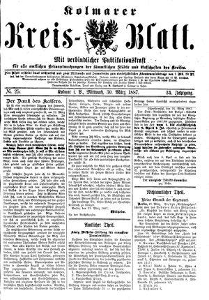 Kolmarer Kreisblatt vom 30.03.1887