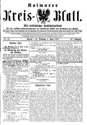 Kolmarer Kreisblatt vom 06.04.1887