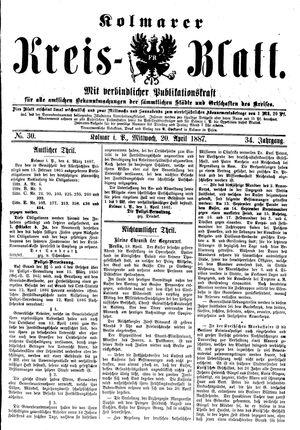 Kolmarer Kreisblatt vom 20.04.1887