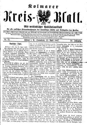 Kolmarer Kreisblatt vom 23.04.1887