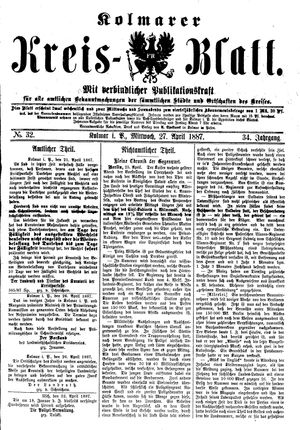 Kolmarer Kreisblatt vom 27.04.1887