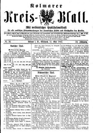 Kolmarer Kreisblatt vom 11.05.1887