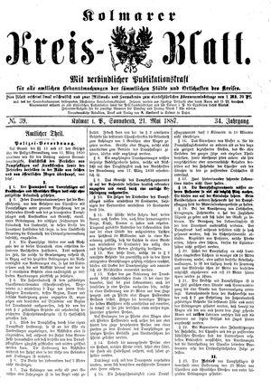 Kolmarer Kreisblatt vom 21.05.1887