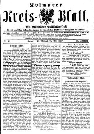 Kolmarer Kreisblatt vom 25.05.1887