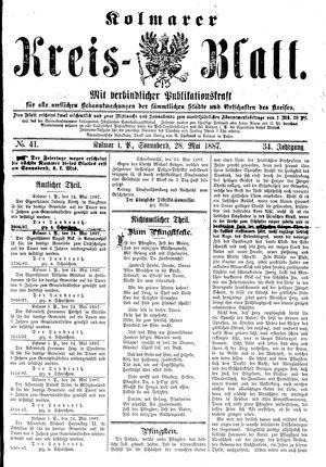 Kolmarer Kreisblatt vom 28.05.1887