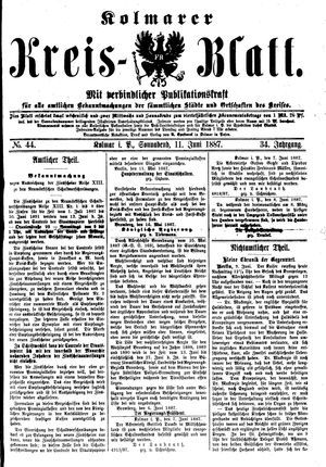 Kolmarer Kreisblatt vom 11.06.1887