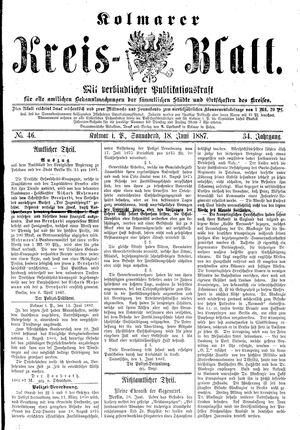 Kolmarer Kreisblatt vom 18.06.1887