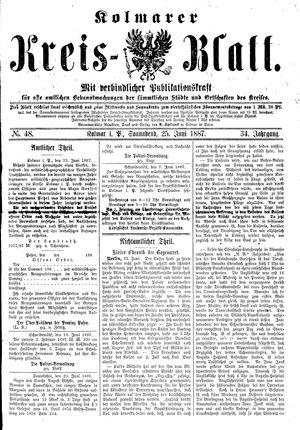 Kolmarer Kreisblatt vom 25.06.1887
