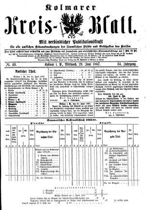 Kolmarer Kreisblatt vom 29.06.1887